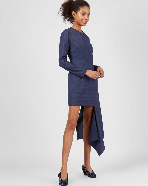 12Storeez Платье мини с асимметричным низом (семно-синее)