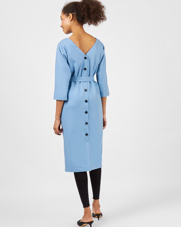 12Storeez Платье миди с V-образным вырезом и пуговицами сзади (голубой) цена и фото