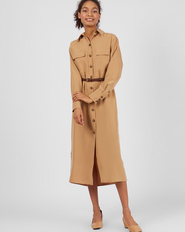 купить 12Storeez Платье миди с погонами (темно-бежевый) по цене 3790 рублей