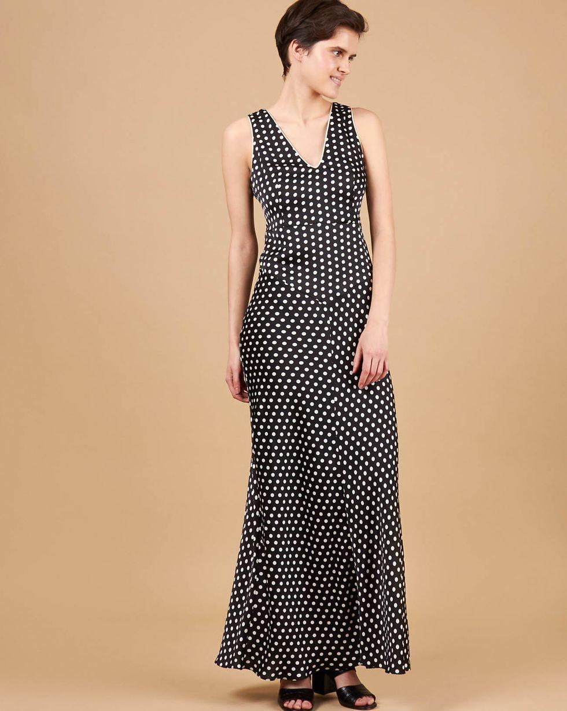 12Storeez Платье-комбинация макси с кантом (черный)