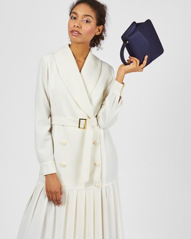 12Storeez Платье двубортное с плиссированным низом (молочный)
