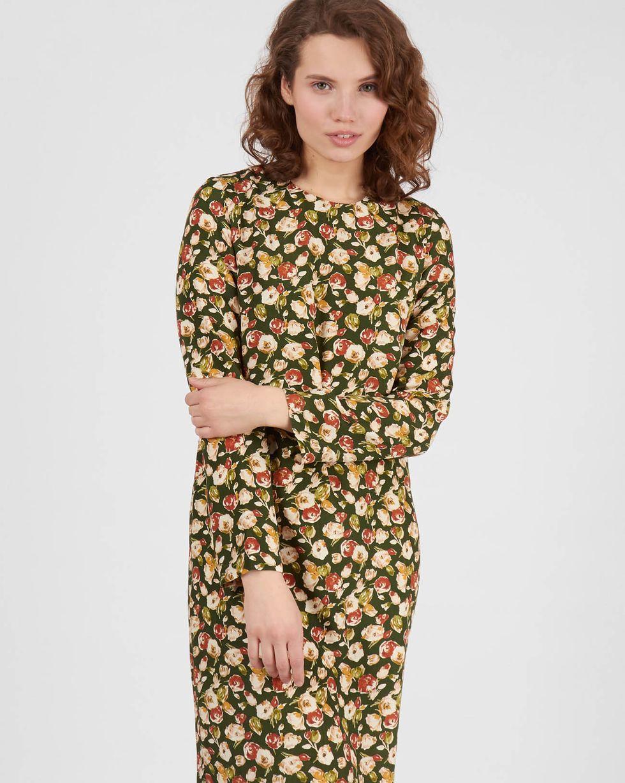 Платье миди в мелкую розу XSПлатья<br><br><br>Артикул: 82913229<br>Размер: XS<br>Цвет: Зеленый<br>Новинка: ДА<br>Наименование en: Rose print midi dress