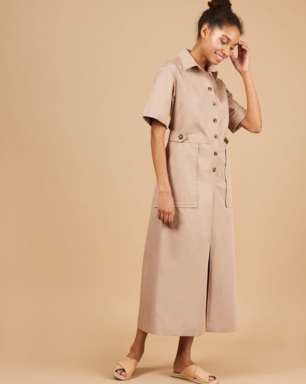 12Storeez Платье миди в стиле сафари (бронза) 12storeez комбинезон в стиле сафари бежевый