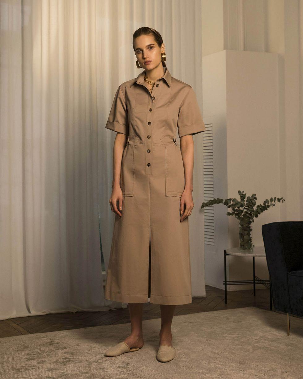 12Storeez Платье миди в стиле сафари (бронза)