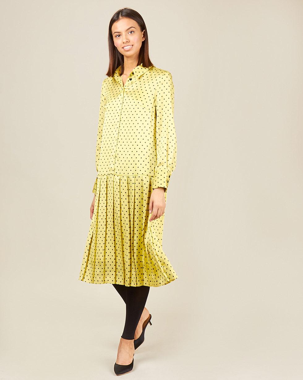 12Storeez Платье миди с плиссированным низом в горох (желтый) 12storeez платье с плиссированным низом в горох желтый