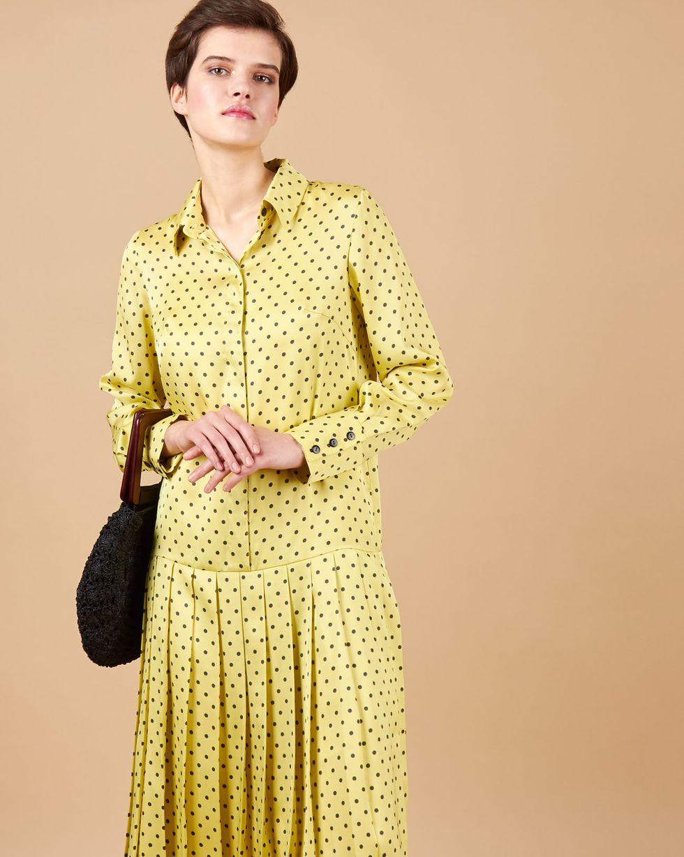 12Storeez Платье с плиссированным низом  горох (желтый)