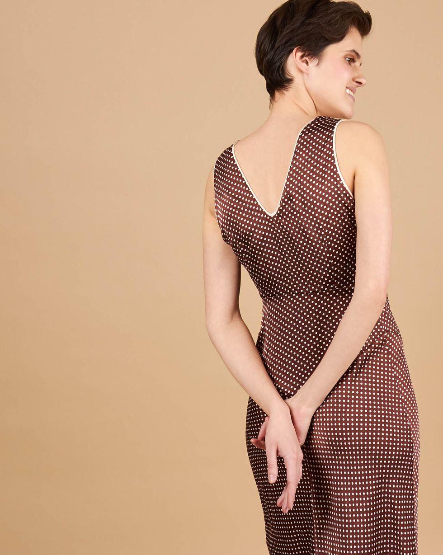 12Storeez Платье-комбинация макси с кантом (коричневый)