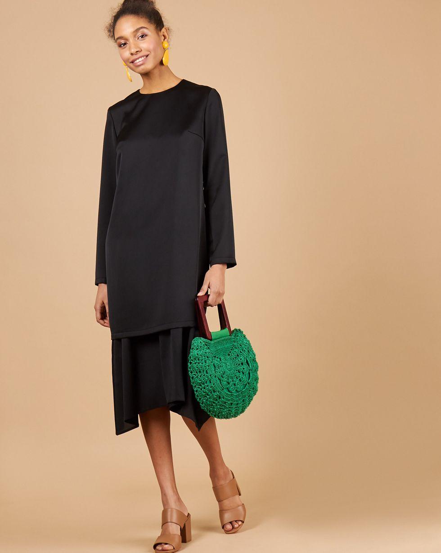 12Storeez Двойное платье миди (черный) цена