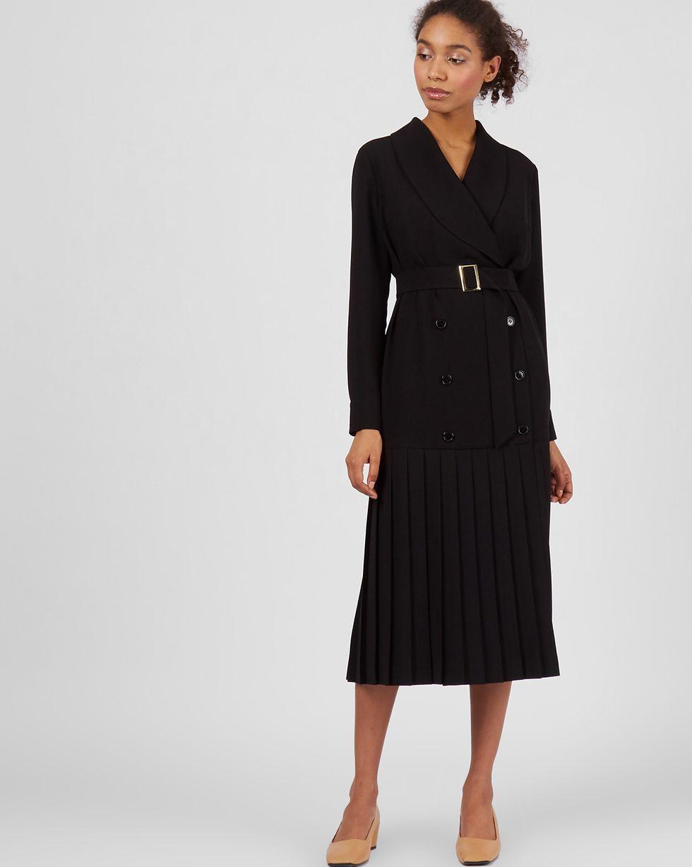 Платье двубортное с плиссированным низом MПлатья<br><br><br>Артикул: 82913721<br>Размер: M<br>Цвет: Черный<br>Новинка: НЕТ<br>Наименование en: Double-breasted pleated hem dress