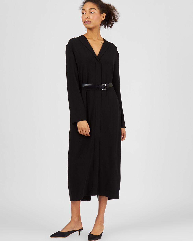12Storeez Платье миди со шлицей (черный)