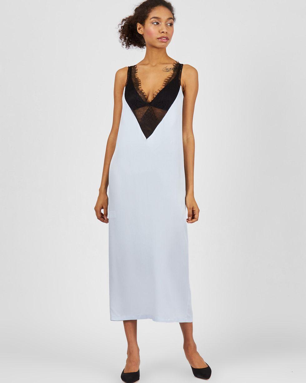 12Storeez Платье комбинация с кружевом (голубой) свободное платье в сочетании с кружевом chloah