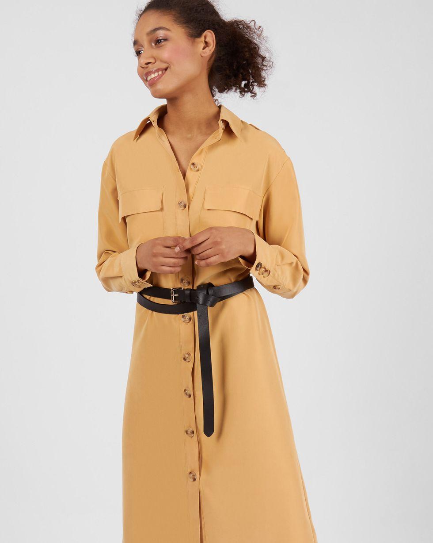 12Storeez Платье миди с погонами (светло-бежевый)