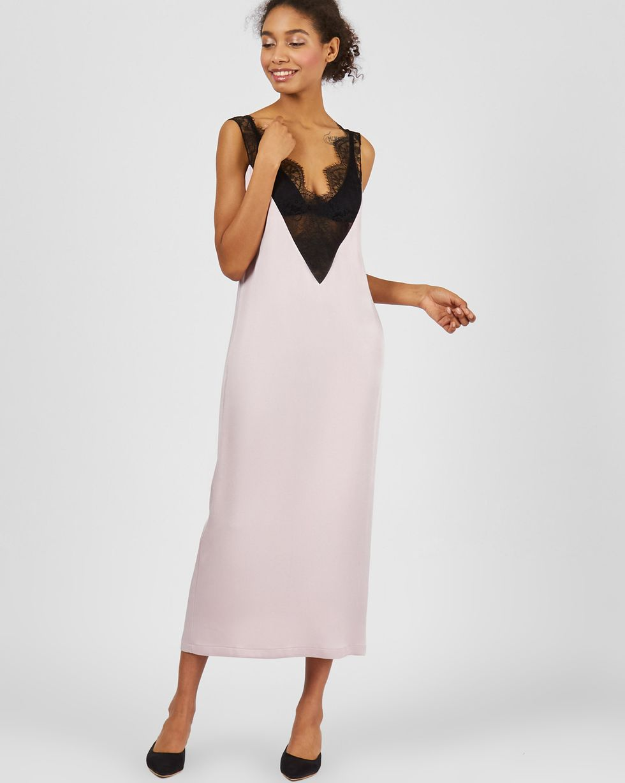 12Storeez Платье-комбинация с кружевом (розовый)