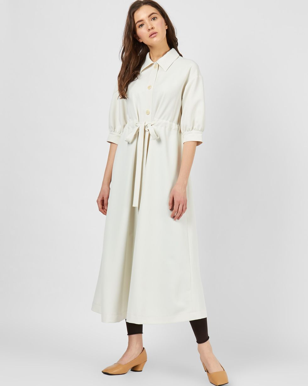 12Storeez Платье миди на кулисе с объемными рукавами (молочный) цена и фото