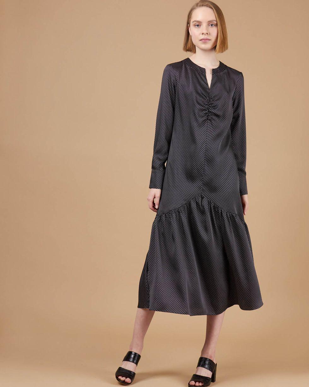 12Storeez Платье миди со сборками (Черный в горошек)