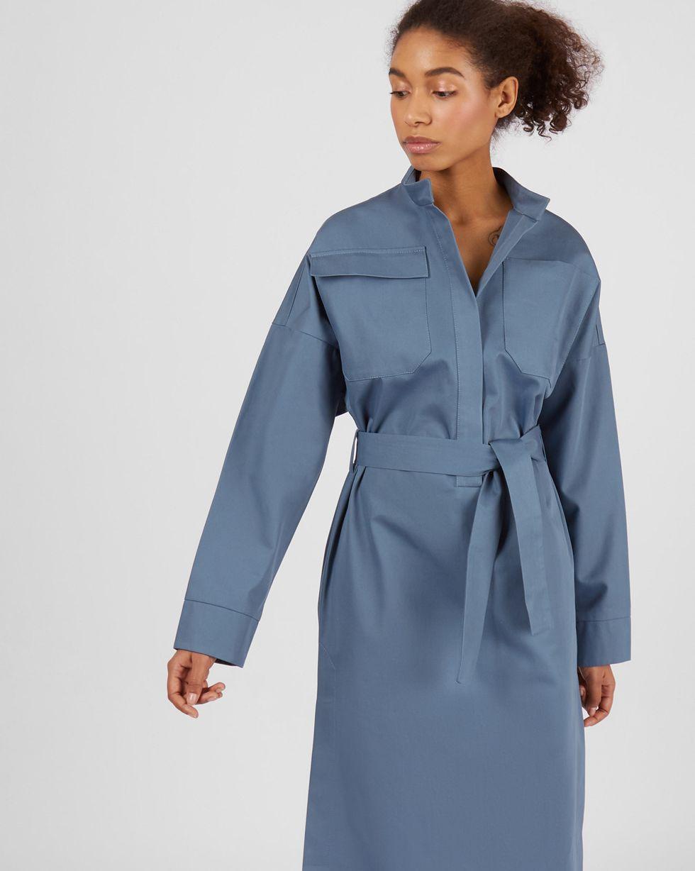 Платье миди на поясе с карманами SПлатья<br><br><br>Артикул: 82913861<br>Размер: S<br>Цвет: Серо-голубой<br>Новинка: НЕТ<br>Наименование en: High-neck belted midi dress