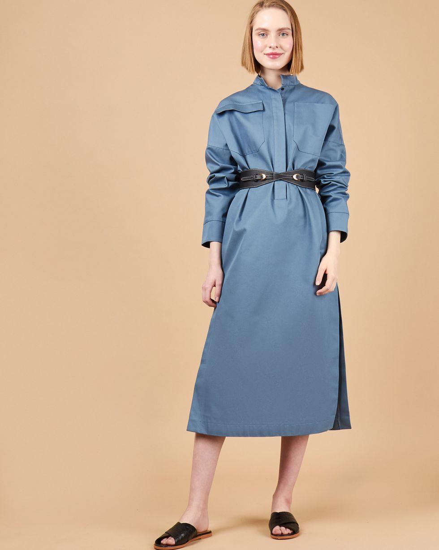12Storeez Платье миди на поясе с карманами (серо-голубой) 12storeez платье миди на поясе с карманами серо голубой