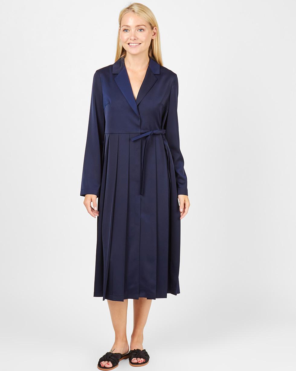 12Storeez Платье-жакет со складками (темно-синий) черное платье со складками 46