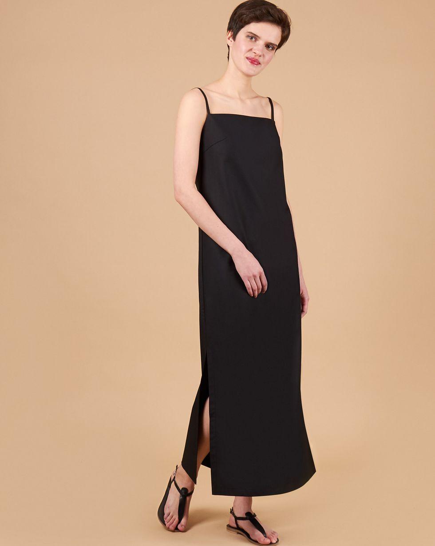 12Storeez Платье макси на тонких бретелях (черный) платье летнее на тонких бретелях marianne