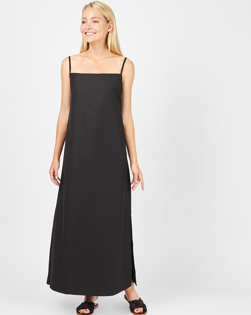 12Storeez Платье макси на тонких бретелях (черный)