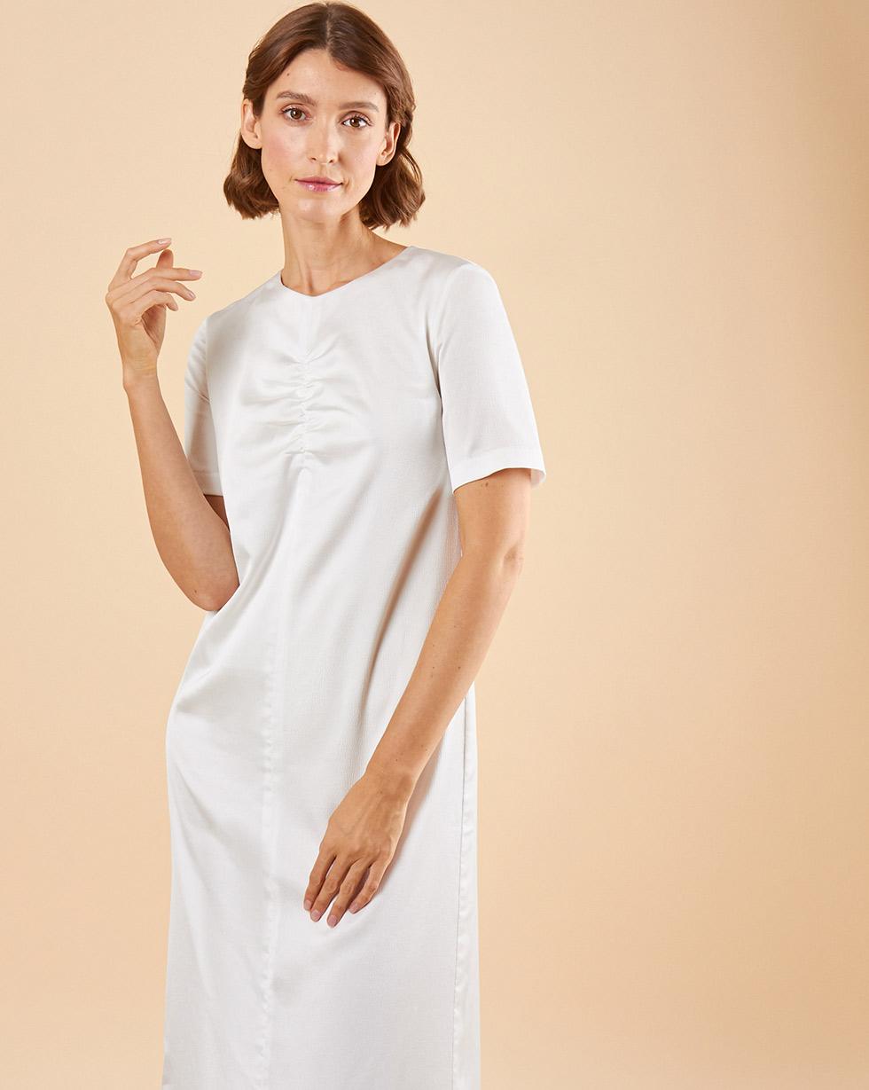 12Storeez Платье макси со сборкой (белый)
