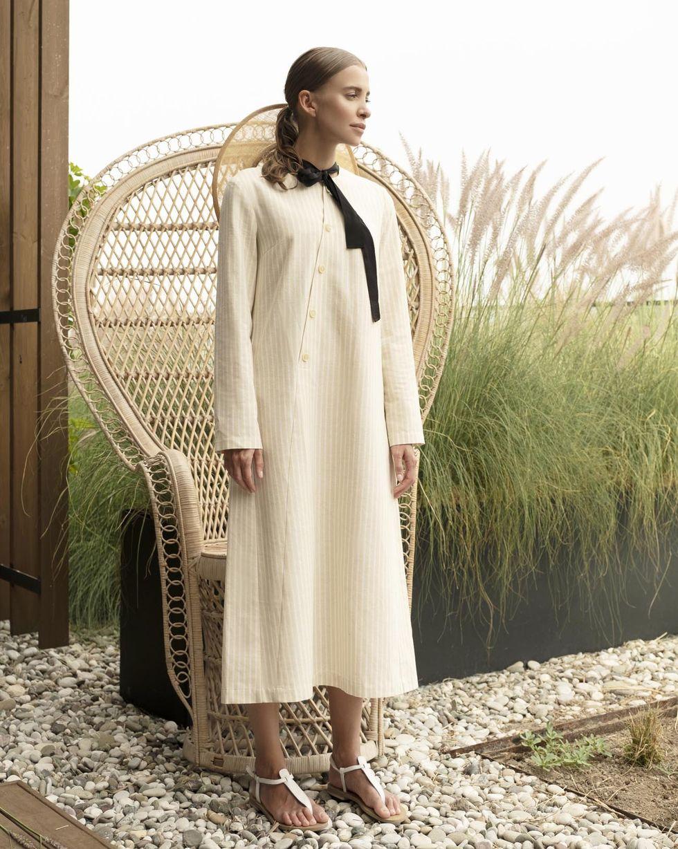12Storeez Платье на пуговицах в полоску (бежевый в полоску) дорожка плетеная 900х2000мм в полоску в ассортименте солома