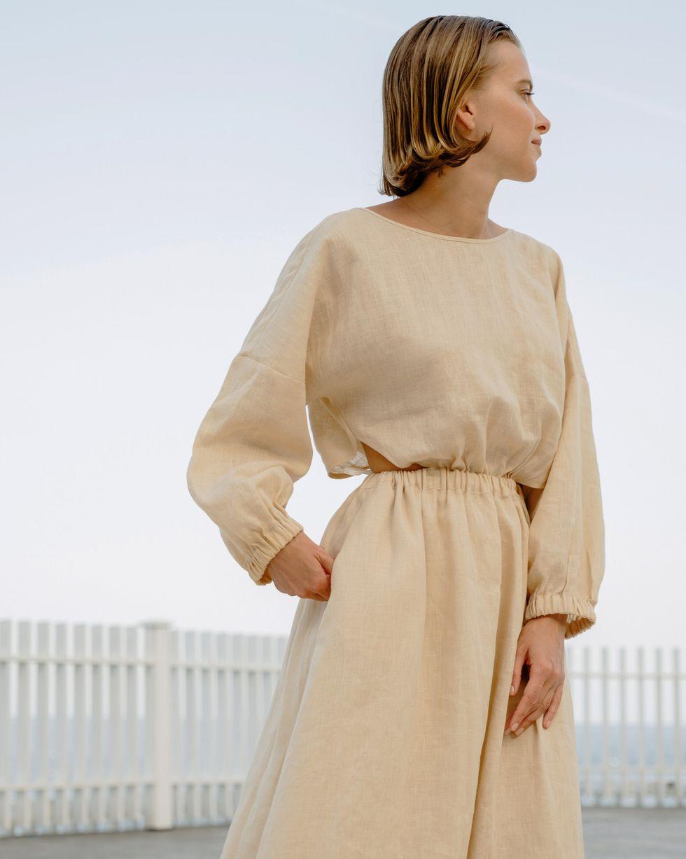 12Storeez Платье изо льна на резинке (молочный) цена и фото