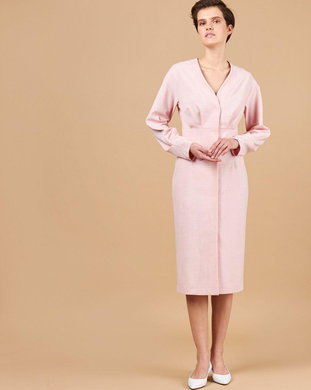 12Storeez Платье миди со складками и глубоким вырезом (розовый) 12storeez комбинация с глубоким вырезом на спине желтый
