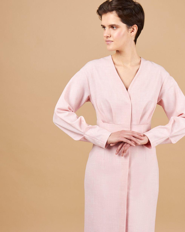 12Storeez Платье миди со складками и глубоким вырезом (розовый) 12storeez футболка с v образным вырезом чайная роза