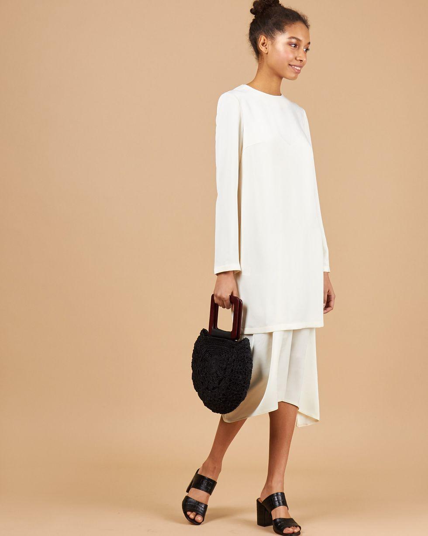 12Storeez Платье миди с двойным низом (молочный) цена и фото