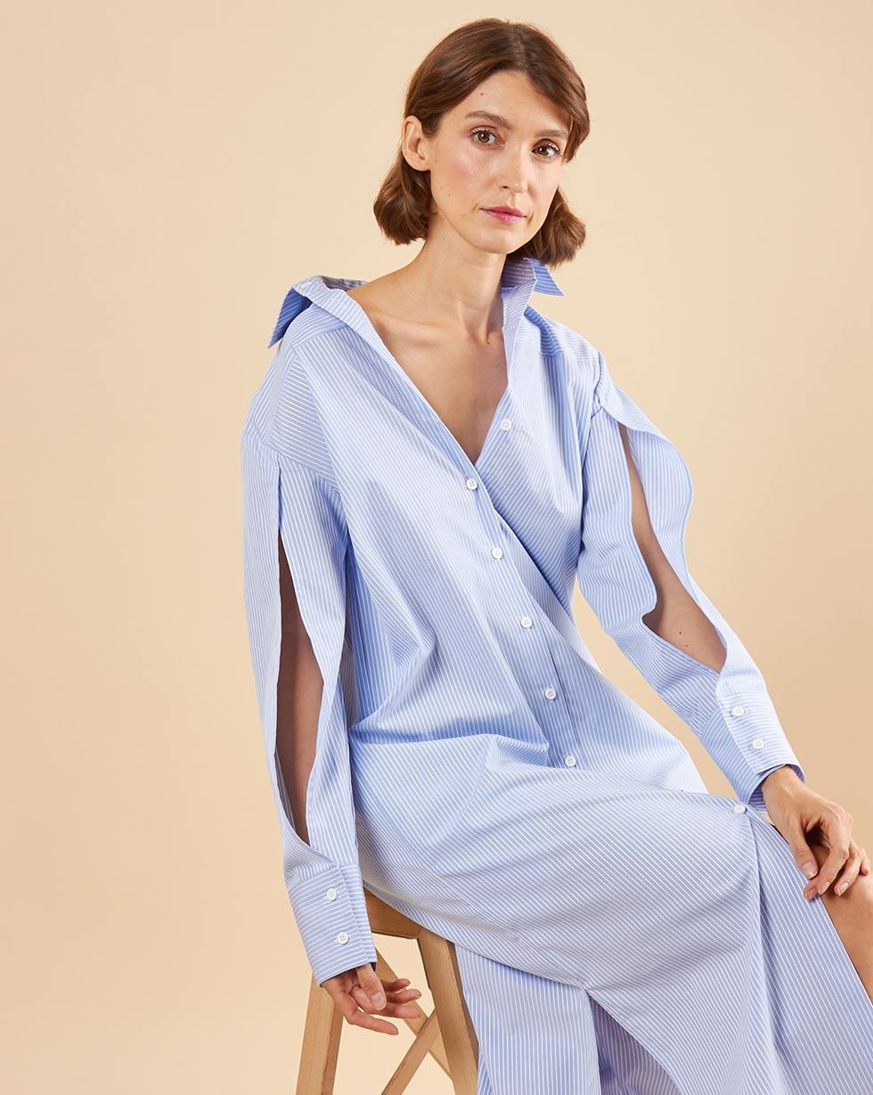 12Storeez Платье - рубашка с разрезами на рукавах (голубой в полоску)
