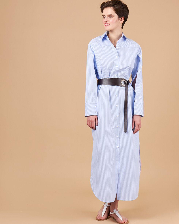 12Storeez Платье-рубашка с разрезами на рукавах (голубой в полоску) платье рубашка в полоску dynastie