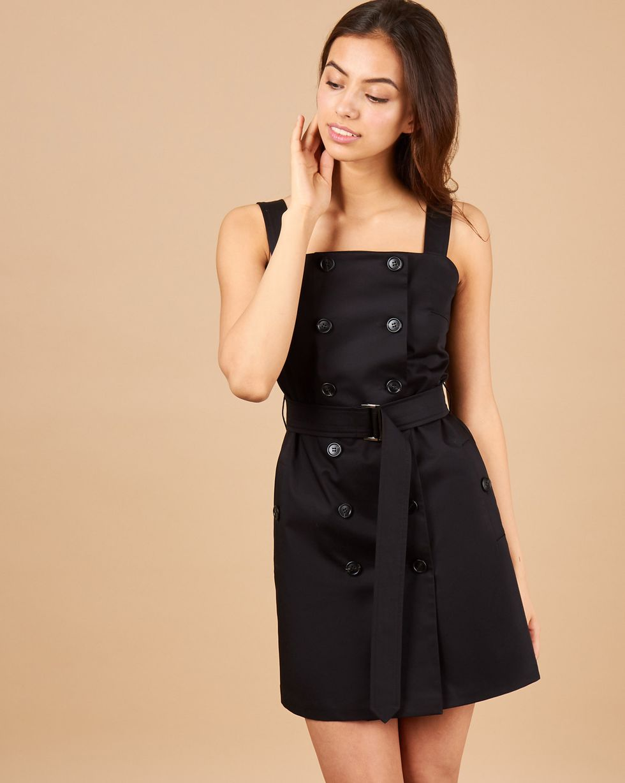 Сарафан мини в стиле сафари XSПлатья<br><br><br>Артикул: 82914084<br>Размер: XS<br>Цвет: Черный<br>Новинка: ДА<br>Наименование en: Double-breasted mini dress