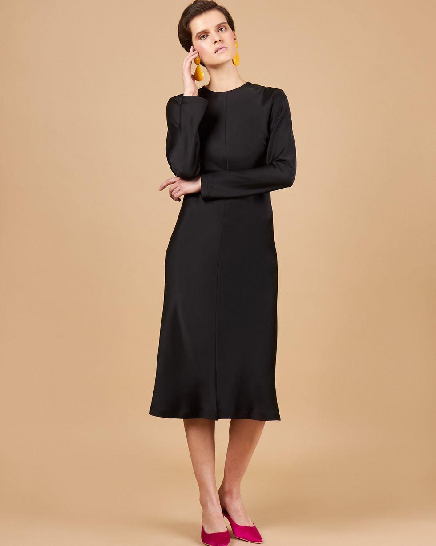 12Storeez Платье миди на рукаах (черный)
