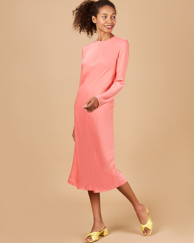 12Storeez Платье миди на рукаах (розоый)