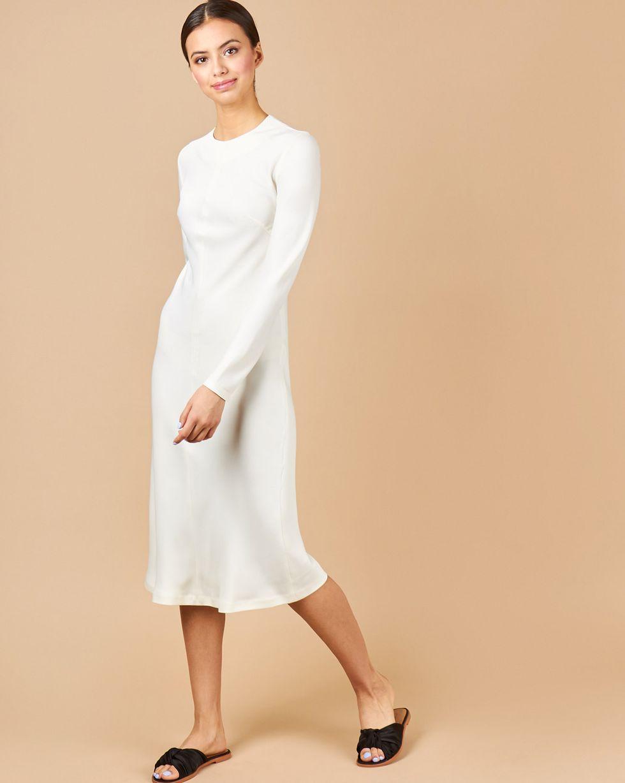 12Storeez Платье миди с молниями на рукавах (молочный)