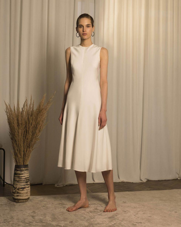12Storeez Платье миди без рукавов (молочный)