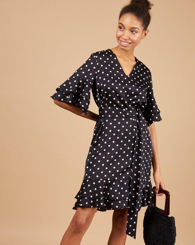 12Storeez Платье мини с воланами в горох (черный)