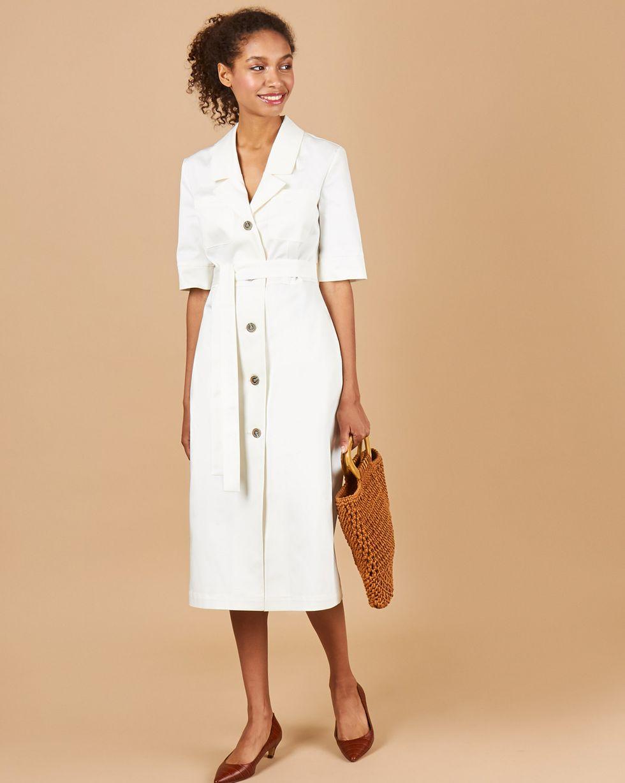 12Storeez Платье миди из денима (белый) жакет из денима