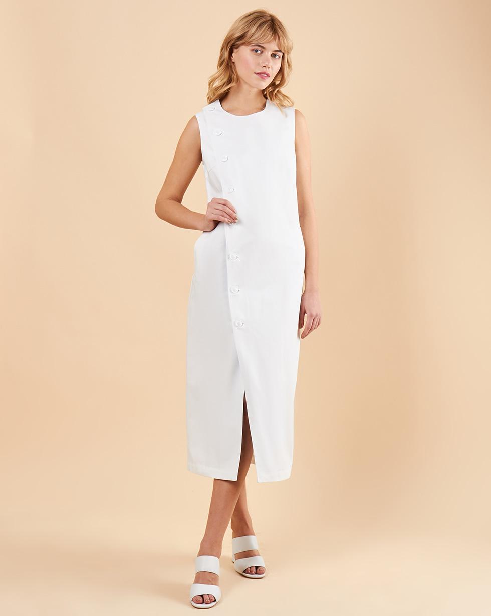 12Storeez Платье без рукавов из плотного хлопка (молочный с подкладкой в полоску)