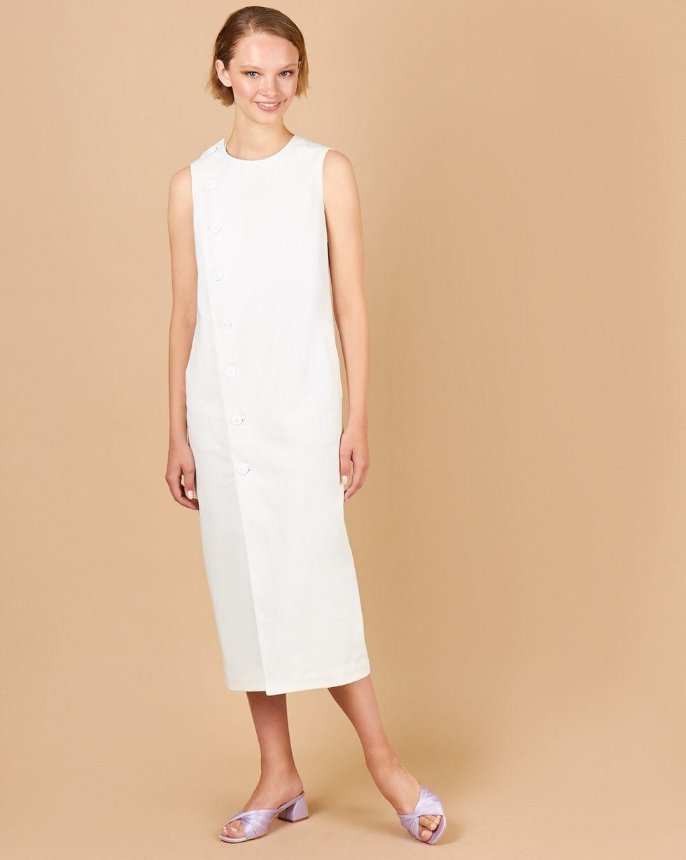 12Storeez Платье без рукавов из плотного хлопка (молочный) printio платье без рукавов