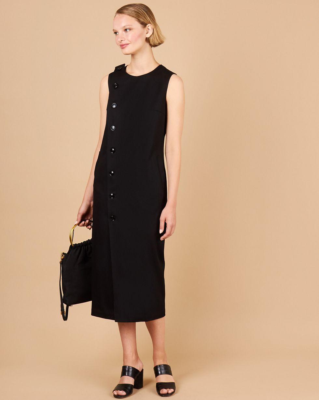12Storeez Платье без рукавов из плотного хлопка (черный) 12storeez платье без рукавов из плотного хлопка молочный с подкладкой в полоску