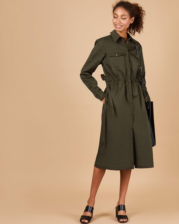12Storeez Платье миди из плотного хлопка с карманами (хаки)