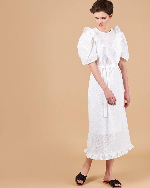 12Storeez Платье миди с объемными рукавами из шитья (белый) 12storeez платье миди из плотного хлопка с карманами белый