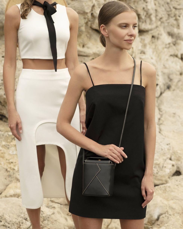 12Storeez Платье мини на тонких бретелях (черный) шерстяное платье на тонких бретелях