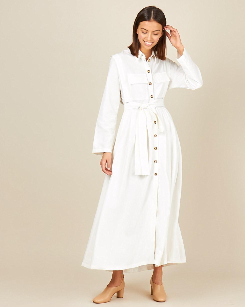 12Storeez Платье - рубашка макси  карманами (белый)