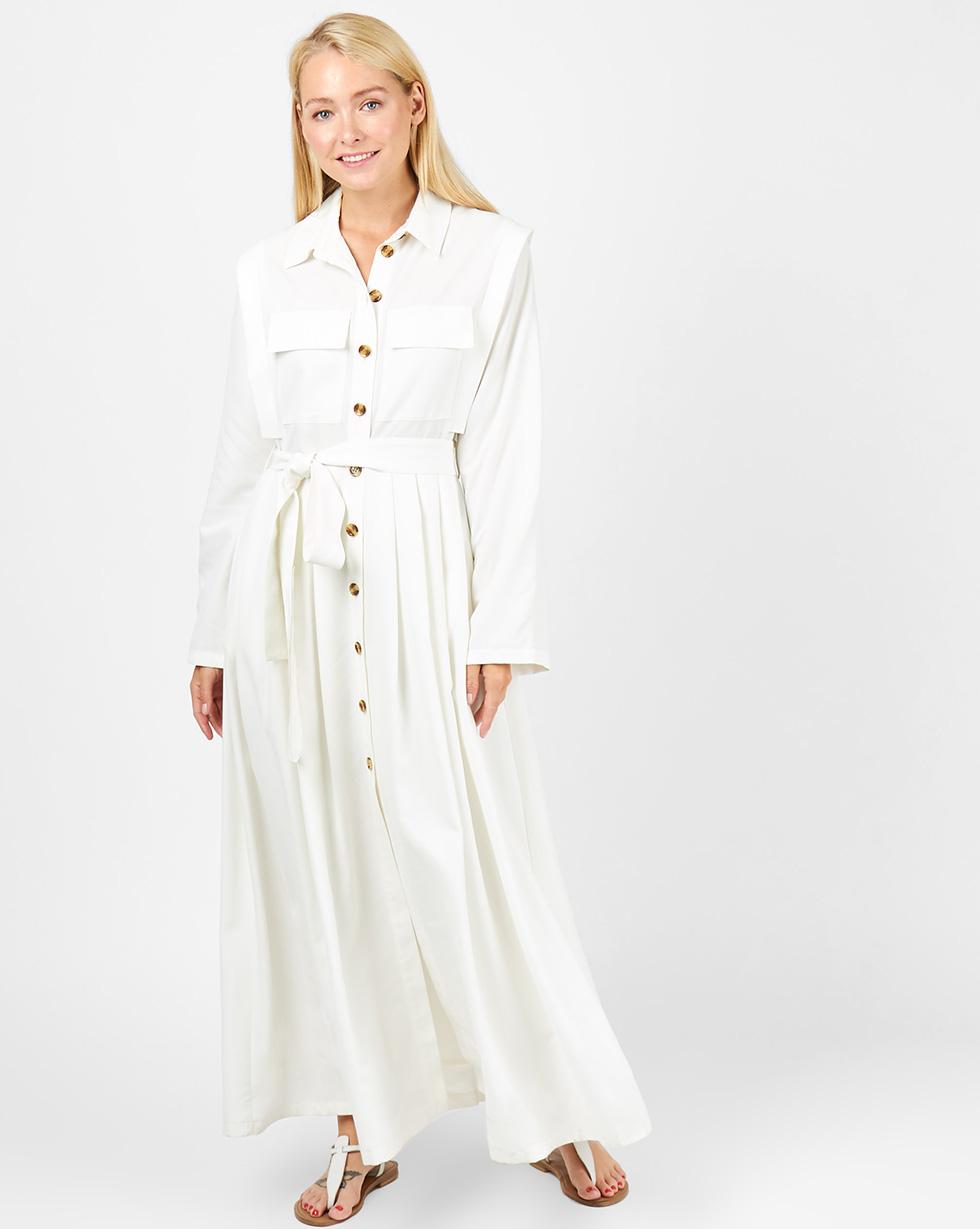 12Storeez Платье-рубашка макси с карманами (белый) платье рубашка fox yulia sway платье рубашка fox