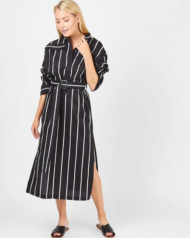 12Storeez Платье миди на поясе с карманами (черный в белую полоску) 12storeez платье миди на поясе с карманами серо голубой