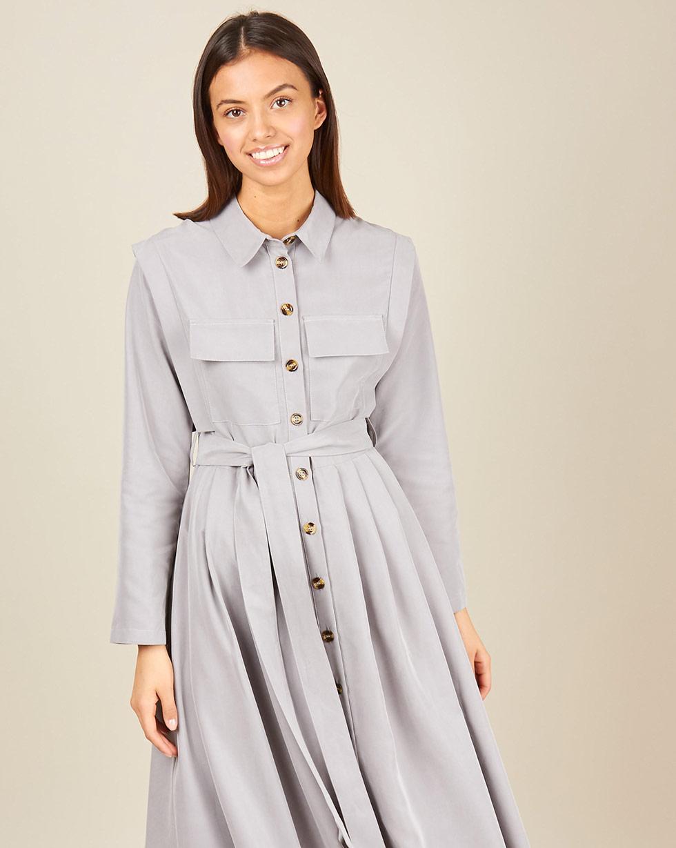 12Storeez Платье - рубашка макси с карманами (серый) платье miata серый 48 размер