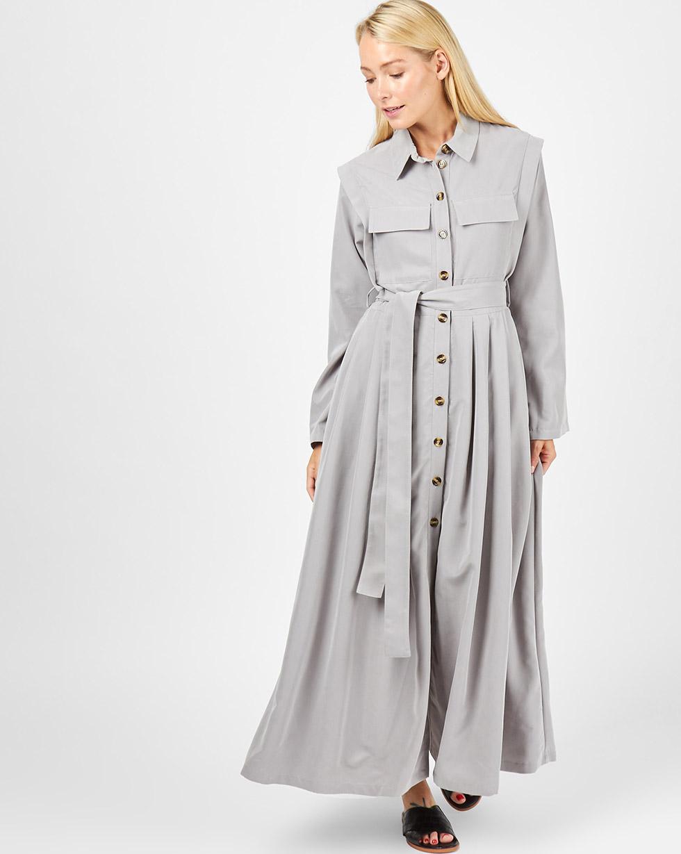12Storeez Платье-рубашка макси с карманами (серый) платье рубашка fox yulia sway платье рубашка fox